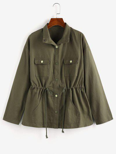 ZAFUL Drop Shoulder Drawstring Waist Pockets Jacket - Army Green L