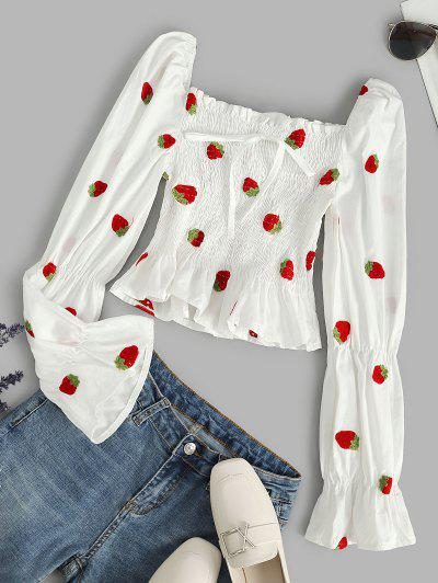 Smocked Strawberry Embroidered Milkmaid Blouse - White S