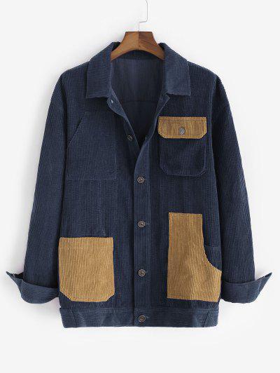 Colorblock Multi Pockets Corduroy Shacket - Blue Xl