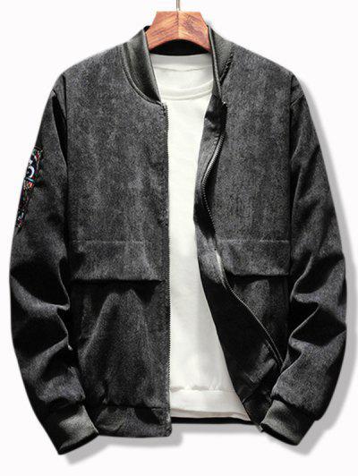 Letter Graphic Renaissance Patched Corduroy Jacket - Black L
