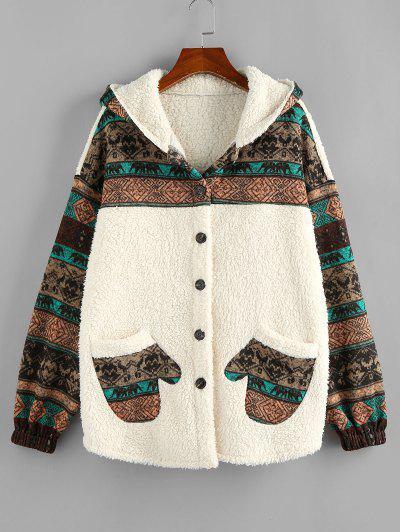 ZAFUL Hooded Tribal Faux Shearling Insert Pocket Jacket - Light Khaki M