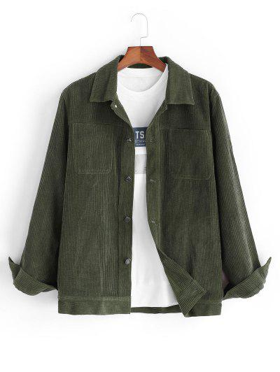 Corduroy Front Pocket Shacket - Deep Green S