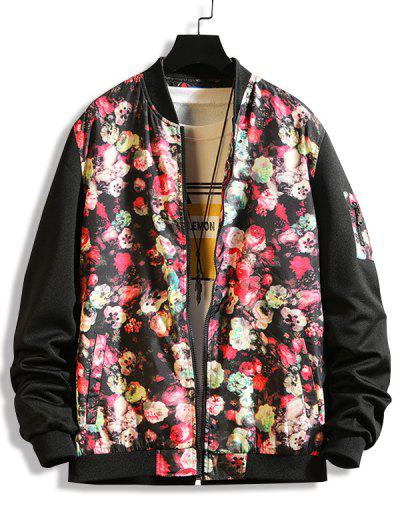 Flower Print Panel Zip Up Jacket - Black L