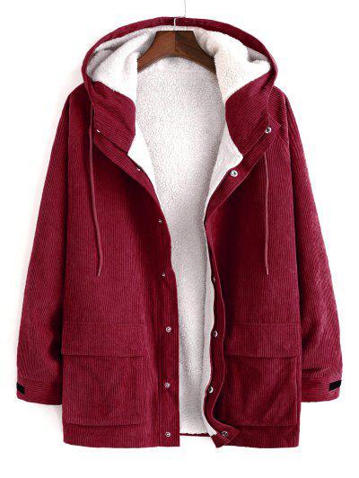 Faux Fur Raglan Sleeve Hooded Corduroy Jacket - Red Wine 2xl