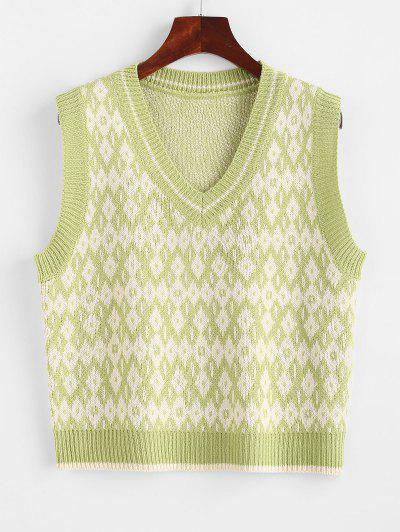 V Neck Geo Sweater Vest - Pistachio Green