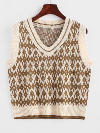 V Neck Geo Sweater Vest - Dark Goldenrod