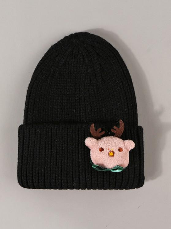 outfit Christmas Elk Pattern Knit Beanie Hat - BLACK
