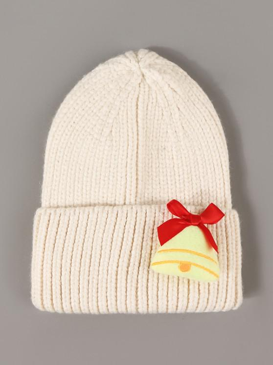shops Christmas Bell Decoration Knit Beanie Hat - BEIGE