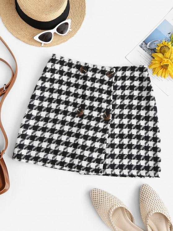 hot Double Breasted Houndstooth Tweed Skirt - BLACK M