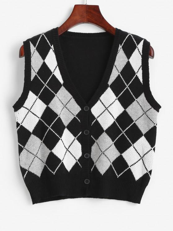 shop Argyle Button Up Sweater Vest - BLACK ONE SIZE