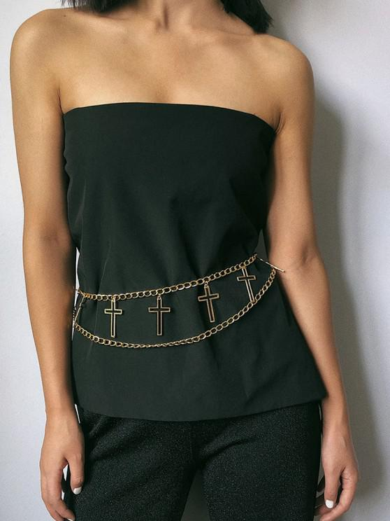 women Hollow Cross Layered Waist Chain - GOLDEN