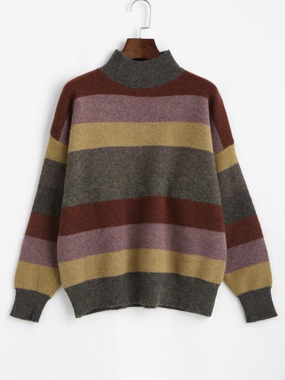 best Mock Neck Striped Colorblock Sweater - MULTI ONE SIZE
