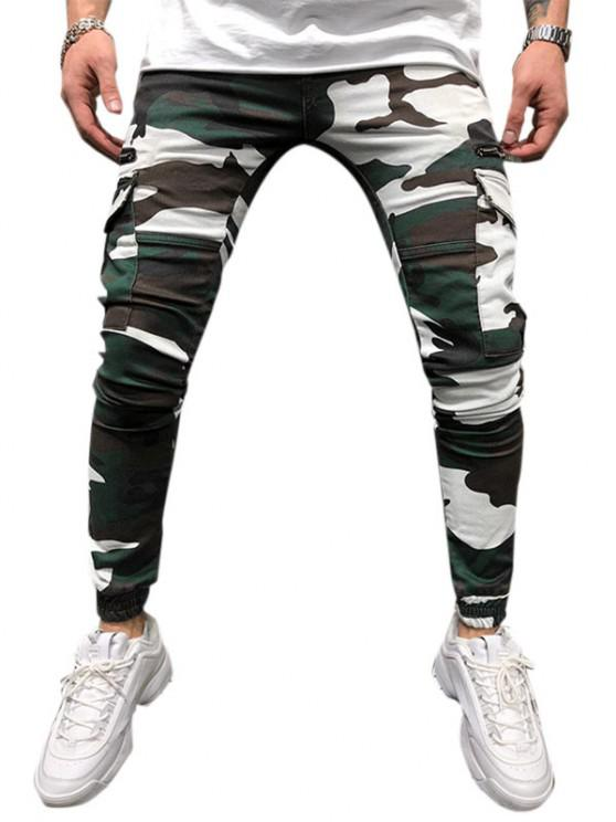 Camouflage Print Multi Pockets Tapered Cargo Pants - شامروك أخضر XXL