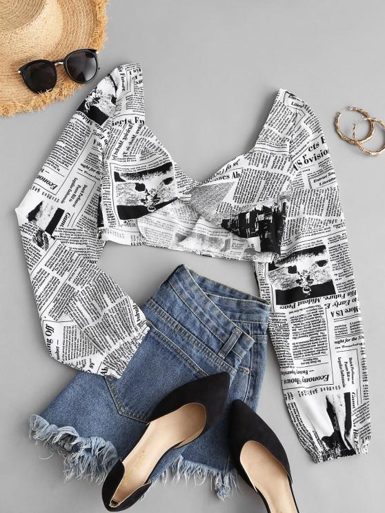 women Cropped Twist Front Newspaper Print Top - WHITE M