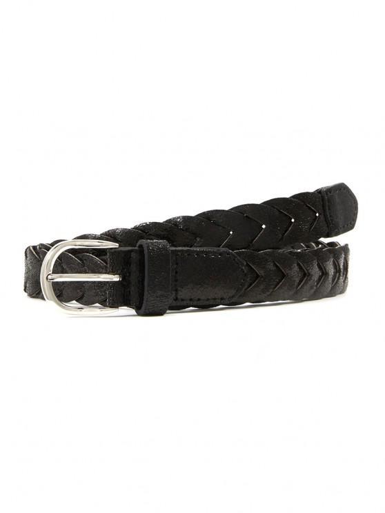 lady Crack Pattern Pin Buckle Braid Belt - BLACK