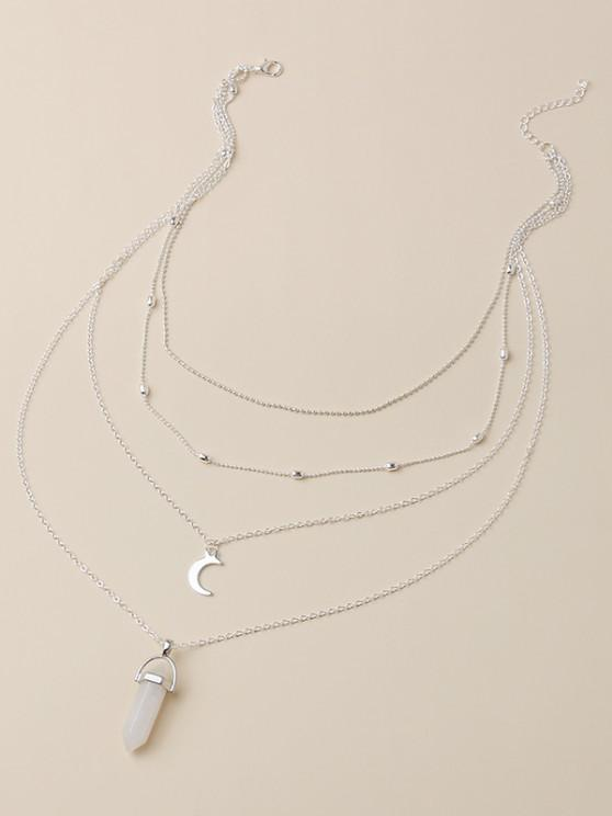 online Moon Shape Pendant Multi Layered Necklace - SILVER