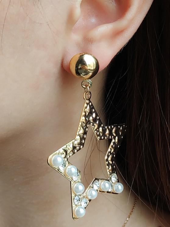 hot Faux Pearl Rhinestone Star Shape Drop Earring - GOLDEN