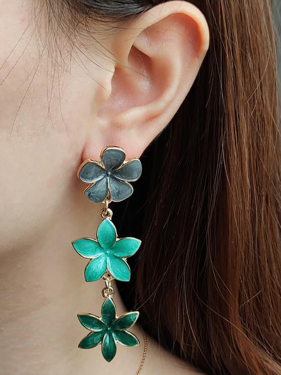 outfit Tricolor Flower Shape Drop Earrings - GOLDEN