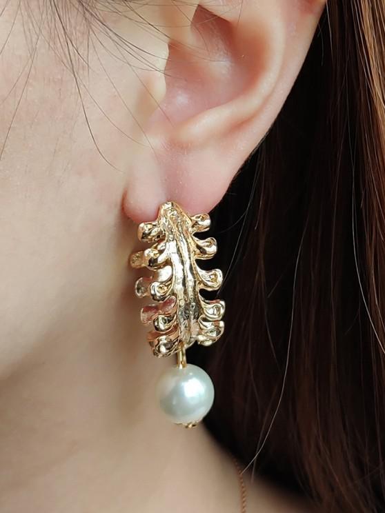 shop Faux Pearl Leaf Shape Hoop Earrings - GOLDEN