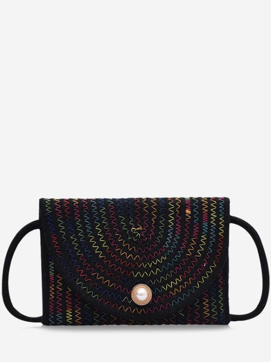 best Woven Design Envelope Shape Crossbody Bag - BLACK