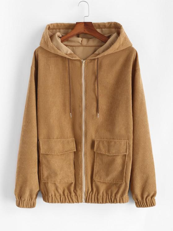 womens Hooded Double Pockets Corduroy Jacket - COFFEE 2XL