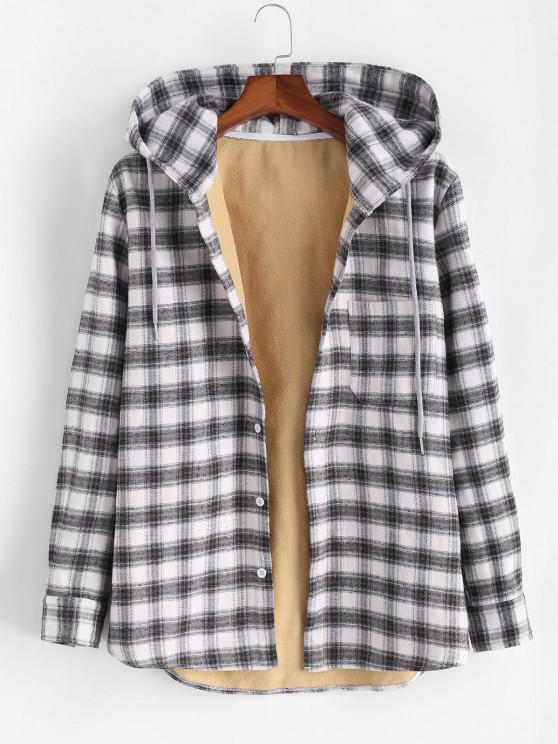 ladies Plaid Print Button Up Hooded Pocket Fleece Jacket - BLACK L