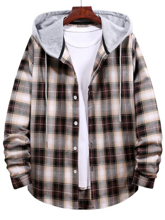 outfit Plaid Pattern Colorblock Panel Hooded Shirt - WOOD S