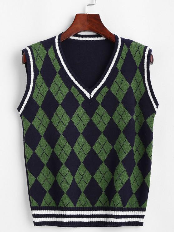 Camisola suéter com marcas de linhas - Azul Escuro Um Tamanho