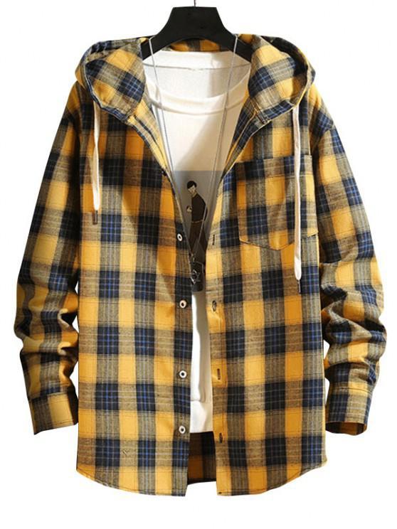 Plaid Pattern Pocket Patch Hooded Shirt Jacket - بني ذهبي M