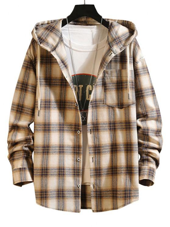 Plaid Pattern Pocket Patch Hooded Shirt Jacket - مشمش 2XL