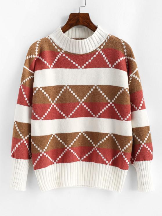 Mock Neck Colorblock Geo Graphic Sweater - وردي فاتح حجم واحد