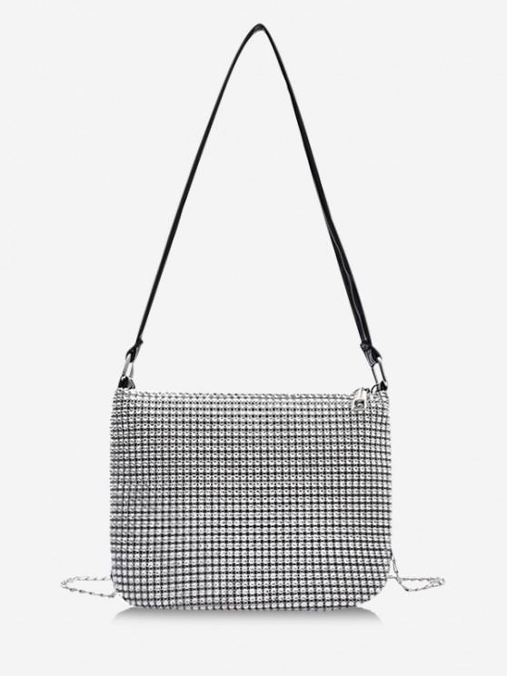 shops Rhinestone Design Chain Evening Bag - PLATINUM