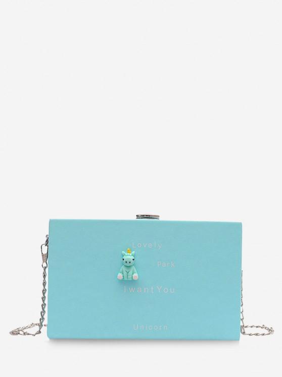 chic Cartoon Animal Pattern Chain Box Bag - LIGHT SKY BLUE