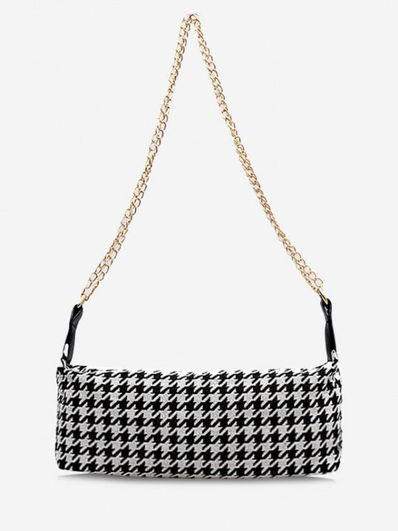 fancy Houndstooth Print Chain Strap Shoulder Bag - BLACK