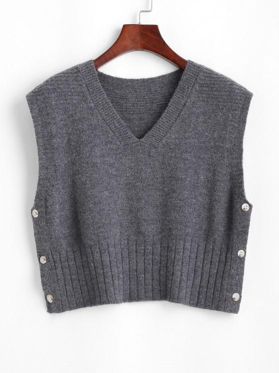 V Neck Side Button Up Sweater Vest - اللون الرمادي حجم واحد
