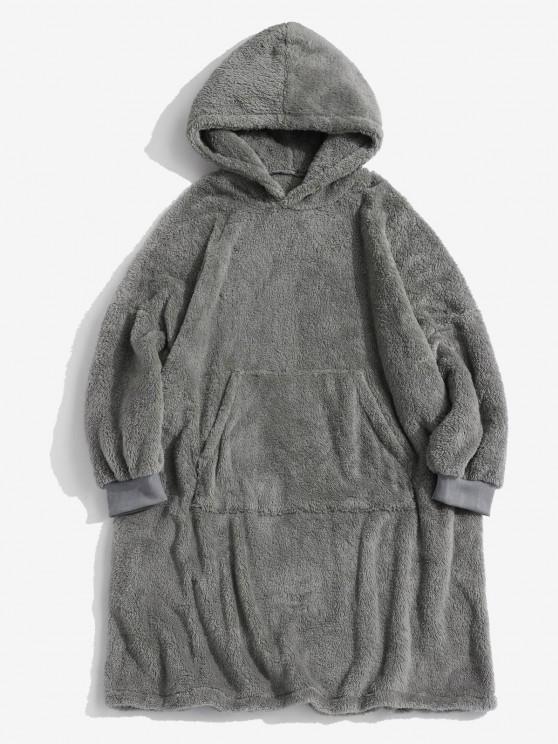 Front Pocket Drop Shoulder Fluffy Blanket Hoodie - اللون الرمادي S