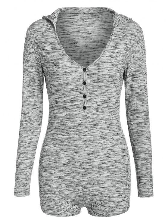 womens ZAFUL Half Button Space Dye Hooded Unitard - LIGHT GRAY M