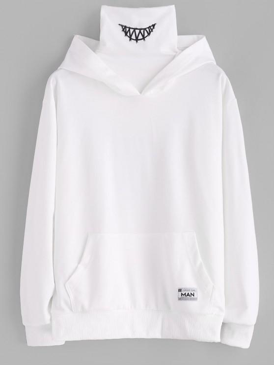 Kangaroo Pocket Letter Applique Double Collar Hoodie - أبيض 2XL