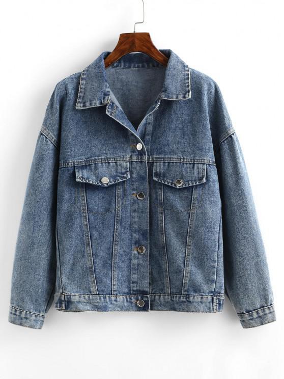 Embroidered Back Distressed Denim Jacket - أزرق فاتح S