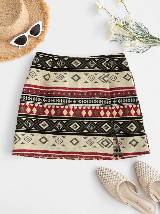 shop ZAFUL Ethnic Brocade Slit Retro Mini Skirt - MULTI-A S