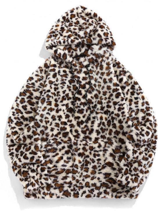 buy ZAFUL Leopard Pattern Kangaroo Pocket Fluffy Hoodie - MULTI S