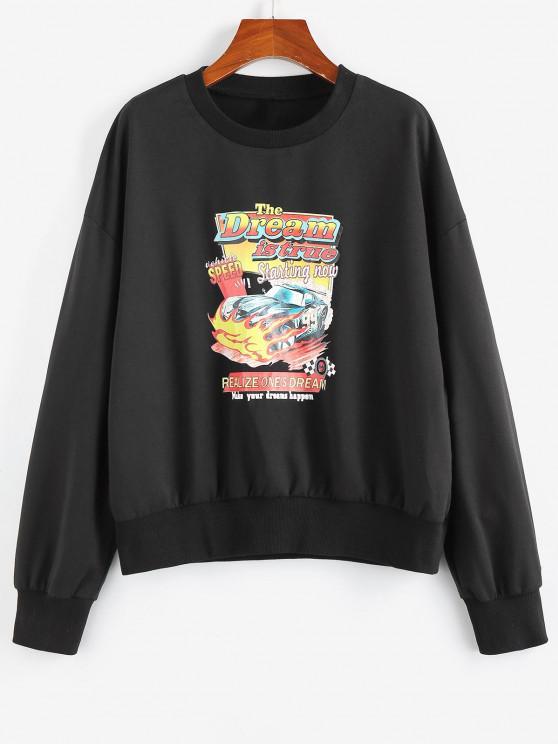 ZAFUL Moletom suéter de Carro de Impressão Gráfica - Preto M