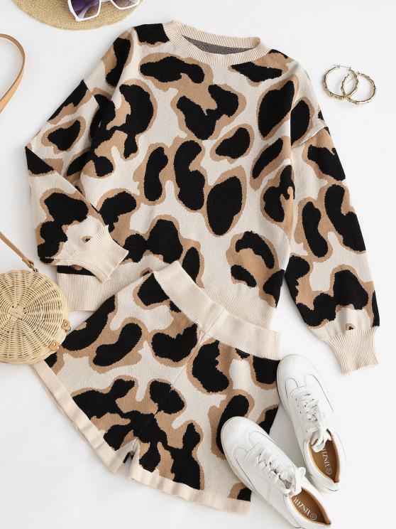 Two Piece Crew Neck Leopard Sweater Set - القهوة الخفيفة S