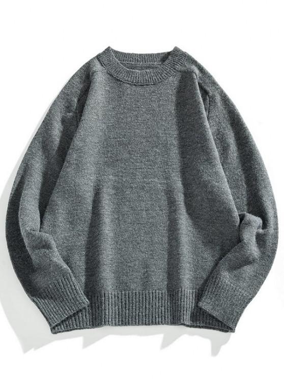 new Crew Neck Raglan Sleeve Pullover Sweater - DARK GRAY M