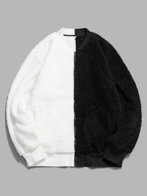 unique Zip Up Contrast Fluffy Jacket - WHITE L