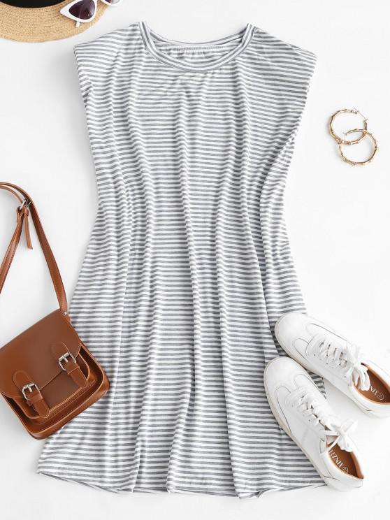 lady Casual Stripes Shoulder Pads Mini Dress - WHITE XL