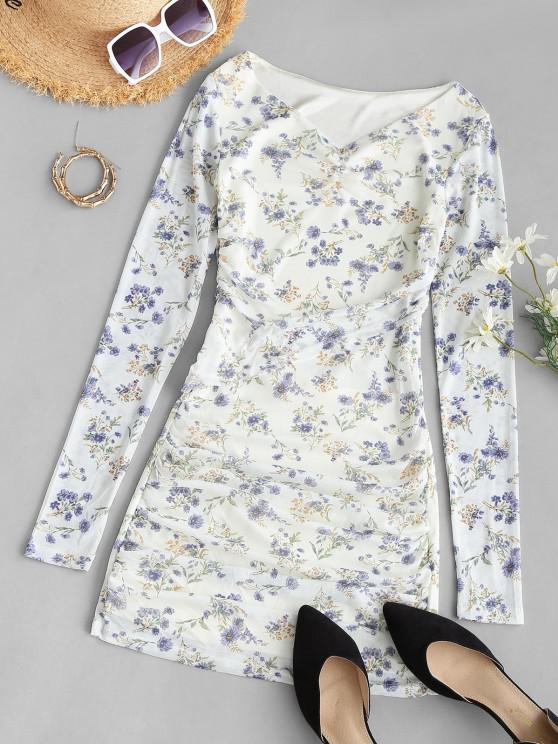 women's Tiny Floral Ruched Long Sleeve Bodycon Dress - WHITE ONE SIZE