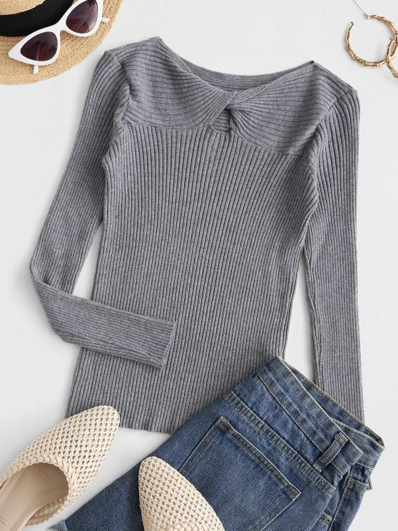 lady Ribbed Twist Front Basic Knitwear - GRAY ONE SIZE