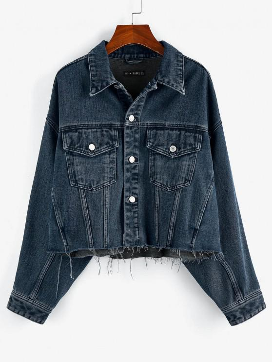 shop ZAFUL Drop Shoulder Frayed Hem Denim Jacket - DEEP BLUE S