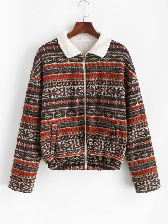 lady ZAFUL Faux Fur Lined Tribal Print Jacket - DEEP BROWN S